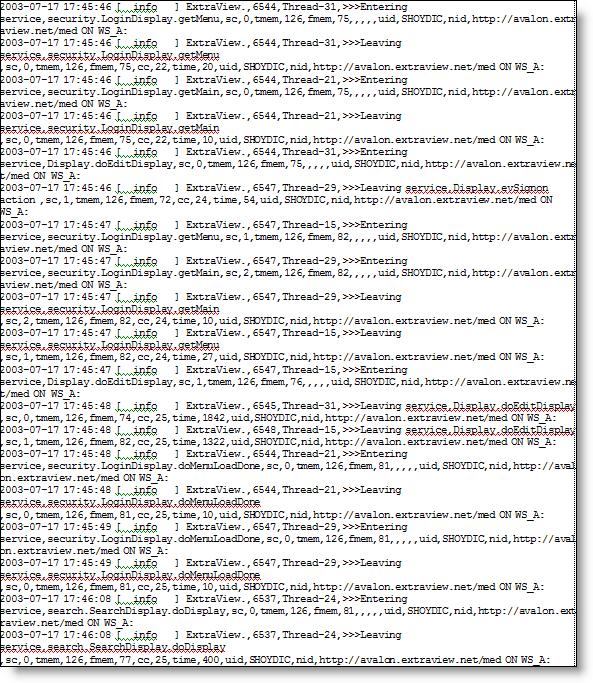 application server log product documentation